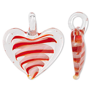 pendant, lampworked glass, clear / red / white / orange, 46x36mm-48x40mm single-sided domed heart. sold individually.