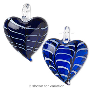 pendant, lampworked glass, dark blue and white, 45x30mm double-sided heart with fancy curved line design. sold individually.