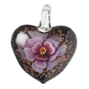 pendant, lampworked glass, multicolored with copper-colored foil, 42x36mm single-sided puffed heart with flower design. sold individually.
