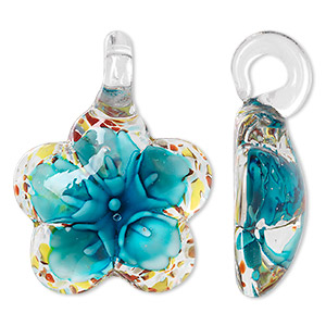 pendant, lampworked glass, multicolored with copper-colored foil, 45x34mm single-sided domed flower. sold individually.