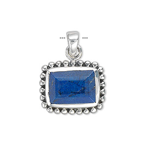 pendant, lapis lazuli (dyed) and sterling silver, 20x16mm with 13x9mm faceted rectangle. sold individually.