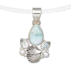 pendant, larimar (natural) / sky blue topaz (irradiated) / cultured freshwater pearl (bleached) / antiqued sterling silver, 25x19mm with shell and teardrop. sold individually.