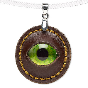 pendant, leather (dyed) / glass / silver-plated brass, green and multicolored, 32mm single-sided round with dragon eye. sold individually.