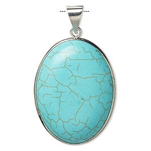 pendant, magnesite (dyed / stabilized) and imitation rhodium-plated brass, blue, 40x30mm double-sided oval, b grade, mohs hardness 3-1/2 to 4. sold individually.