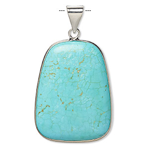 pendant, magnesite (dyed / stabilized) and imitation rhodium-plated brass, blue, 36x27mm double-sided trapezoid, b grade, mohs hardness 3-1/2 to 4. sold individually.