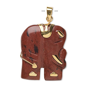 pendant, mahogany obsidian (natural) and gold-finished pewter (zinc-based alloy), 28x23mm-30x25mm single-sided elephant. sold individually.