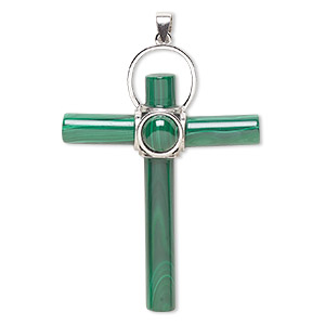 pendant, malachite (natural) and sterling silver, 44x24mm-50x30mm cross. sold individually.