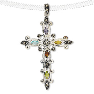 pendant, marcasite (natural) / sterling silver / glass, multicolored, 56x40mm cross. sold individually.
