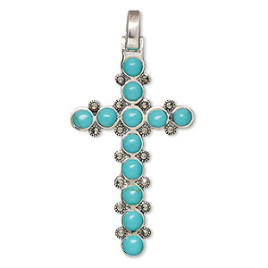 pendant, marcasite (natural) / turquoise (imitation) / sterling silver, turquoise blue, 41x23mm cross. sold individually.