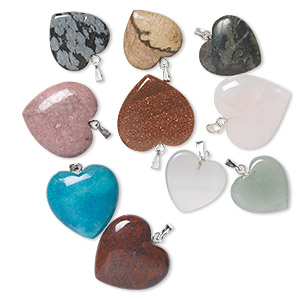 pendant mix, gemstone (natural / dyed / man-made) with gold-finished or silver-plated brass bail, 15-24mm heart. sold per pkg of 10.