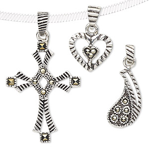 pendant mix, marcasite (natural) and antiqued sterling silver, 10x10mm-64x44mm mixed shape. sold per pkg of 3.