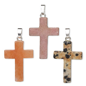 pendant mix, multi-gemstone (natural / dyed / manmade) with gold-finished and/or silver-plated brass, 25x17mm cross. sold per pkg of 10.