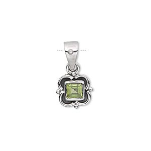 pendant, peridot (natural) and antiqued sterling silver, 11x11mm fancy square with 5x5mm faceted square. sold individually.