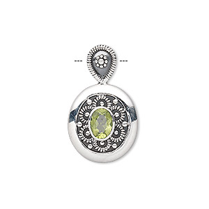 pendant, peridot (natural) and antiqued sterling silver, 26x16mm oval with 8x6mm faceted oval. sold individually.