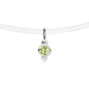 pendant, peridot (natural) and sterling silver, 17x6mm with 5mm faceted round. sold individually.