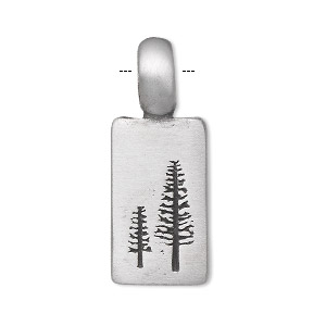 pendant, pewter (tin-based alloy), 34x13mm single-sided rectangle with two stamped trees. sold individually.