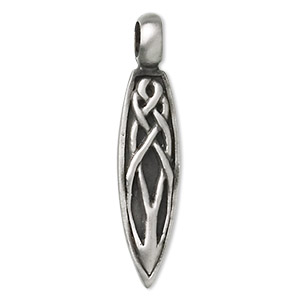 pendant, pewter (tin-based alloy), 56x13mm single-sided woven teardrop. sold individually.
