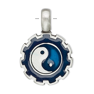 pendant, pewter (tin-based alloy) and enamel, blue/black, 36x25mm yin-yang. sold individually.