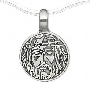 pendant, pewter (zinc-based alloy), 35x24mm round with single-sided jesus face. sold individually.