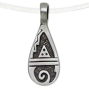 pendant, pewter (zinc-based alloy), 43x16mm single-sided teardrop with mountain and wave. sold individually.