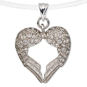 pendant, preciosa czech glass rhinestone and silver-plated pewter (tin-based alloy), clear, 32x32mm wing heart. sold individually.
