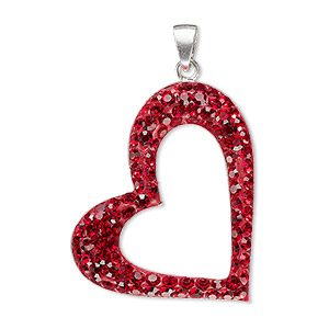 pendant, preciosa glass rhinestone / epoxy / sterling silver, red, 30x25mm single-sided open heart. sold individually.