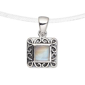 pendant, rainbow moonstone (natural) and antiqued sterling silver, 16x16mm square with 8x8mm square. sold individually.