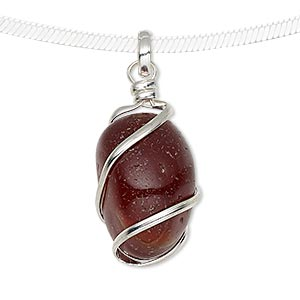 pendant, red agate (dyed / heated) and silver-plated brass, medium to large hand-cut wire-wrapped tumbled nugget. sold individually.