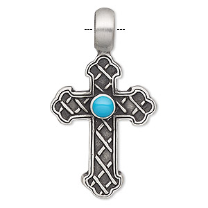 pendant, resin and antiqued pewter (tin-based alloy), turquoise blue, 47x26mm single-sided textured cross. sold individually.