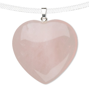 pendant, rose quartz (dyed) with gold-finished and/or silver-plated brass bail, 35mm heart. sold individually.