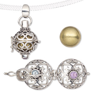 pendant, sky blue topaz (irradiated) / amethyst (natural) / brass / antiqued sterling silver, 27x17mm harmony ball with bell and 4mm faceted round. sold individually.