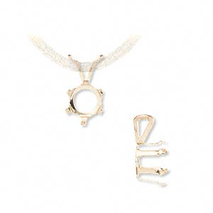 pendant, snap-tite, 14kt gold, 10mm with 6-prong round setting. sold individually.