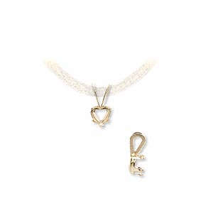 pendant, snap-tite, 14kt gold, 4mm 6-prong heart setting sold individually.