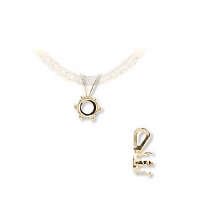 pendant, snap-tite, 14kt gold, 5mm 6-prong round setting sold individually.