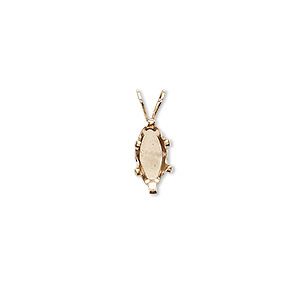 pendant, snap-tite, 14kt gold-filled, 10x5mm 6-prong marquise setting. sold individually.