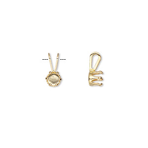pendant, snap-tite, 14kt gold-filled, 5mm 6-prong round setting sold per pkg of 2.
