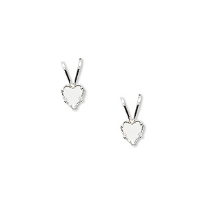 pendant, snap-tite, sterling silver, 5mm 5-prong heart setting. sold per pkg of 2.
