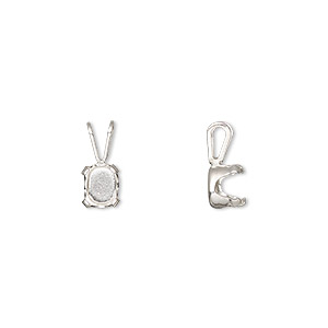 pendant, snap-tite, sterling silver, 7x5mm 4-prong oval setting. sold per pkg of 2.