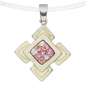 pendant, stainless steel / millefiori glass / enamel, light yellow / pink / white, 39x39mm diamond. sold individually.