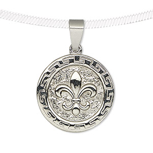 pendant, stainless steel, 24mm single-sided matte and shiny coin with fleur-de-lis. sold individually.