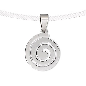 pendant, stainless steel, 24x19mm-24x20mm matte and shiny spiral. sold individually.