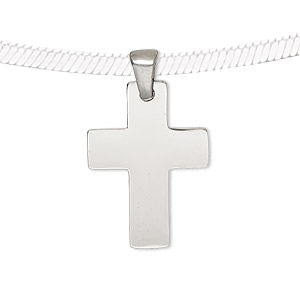pendant, stainless steel, 25x18mm cross. sold individually.