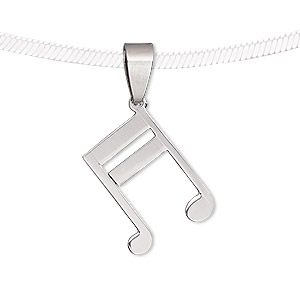 pendant, stainless steel, 25x22mm matte and shiny music note. sold individually.