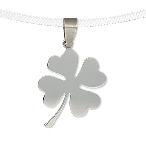 pendant, stainless steel, 26x22mm two-sided matte and shiny 4-leaf clover. sold individually.
