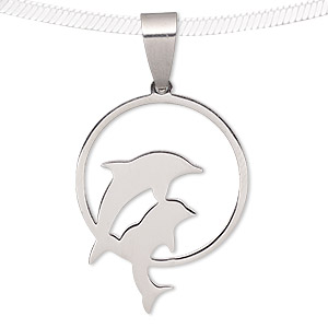 pendant, stainless steel, 27x21mm matte and shiny double dolphin in circle. sold individually.
