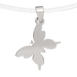 pendant, stainless steel, 29x21mm butterfly. sold individually.