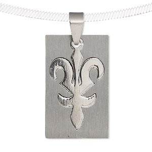 pendant, stainless steel, 32x20mm matte and shiny rectangle with cutout fleur-de-lis. sold individually.