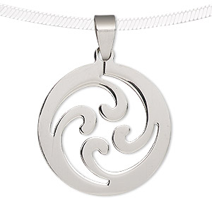 pendant, stainless steel, 34mm round with cutout. sold individually.