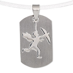 pendant, stainless steel, 34x21mm-35x21mm matte and shiny rounded rectangle with cutout cupid. sold individually.