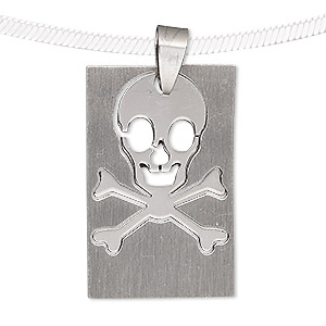 pendant, stainless steel, 34x21mm matte and shiny rectangle with cutout skull. sold individually.